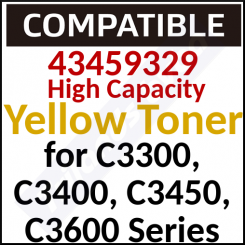 43459329 Compatible High Yield Yellow Original Toner Cartridge (2500 Pages) for C3300, C3300n, C3400, C3400n, C3450, C3450n, C3600, C3600n