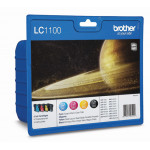Brother LC-1100 CMYK (Cyan/Magenta/Yellow/Black) Original Ink (4) Cartridges Value Pack LC1100VALBP for Brother DCP585cw, DCPJ715w, DCP6690cw, MFC490CW, MFCJ615W, MFC790CW, MFC795CW, MFC990CW, MFC5490CN, MFC5890CN, MFC5895CN, MFC6490CW, MFC6890CW