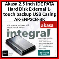 Akasa 2.5 Inch IDE PATA Hard Disk External 1-touch backup USB Casing AK-ENP2CB-BK