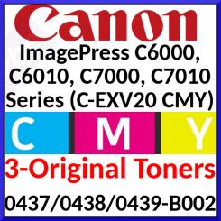 Canon C-EXV 20 CMY Bundle - Cyan 0437B002 / Magenta 0438B002 / 0439B002 Original Toner Cartridges (3 X 35000 Pages)
