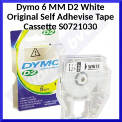 Dymo 6 MM D2 White Original Self Adhevise Tape Cassette S0721030 - 6 mm X 10 Meters