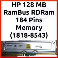 HP 128 MB Workstation RamBus RDRam 184 Pins Memory (1818-8543) - PC800-45NS - NON-ECC - (Toshiba - THMR2N4Z-8) - HP Reorder P2145-63001 - in Working condition - Refurbished