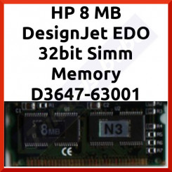 HP 8 MB DesignJet EDO 32bit Simm Memory D3647-63001 - in Working condition - Refurbished - Stock Clearance
