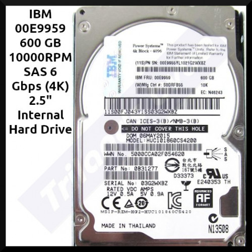 """IBM 00E9959 600 GB 10000RPM SAS 6 Gbps (4K) 2.5"""" Internal Hard Drive for AIX and Linux Based Power Server Systems. - Hard Disk only - Refurbished"""