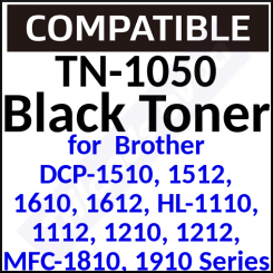 TN-1050 Compatible Black Toner Cartridge (1000 Pages) for Brother DCP-1510, 1512, 1610, 1612, HL-1110, 1112, 1210, 1212, MFC-1810, 1910
