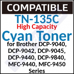 TN-135C Compatible Cyan High Capacity Toner Cartridge (4000 Pages)