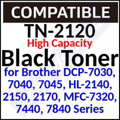 TN-2120 Compatible Black High Capacity Toner Cartridge (2600 Pages) for DCP-7030, 7040, 7045, HL-2140, 2150, 2170, MFC-7320, 7440, 7840; Justio DCP-7040