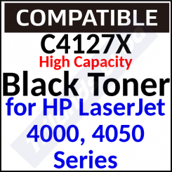C4127X Compatible Black High Capacity Toner Cartridge (10000 Pages) for 4000, 4000n, 4000se, 4000t, 4050, 4050n, 4050t, 4050tn, 4050se, 4050 mfp