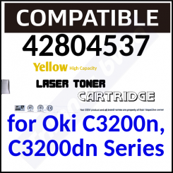 42804537 Compatible Yellow High Capacity Toner Cartridge (3000 Pages) for Oki C3200n, C3200dn