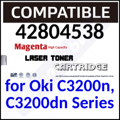 42804538 Compatible Magenta High Capacity Toner Cartridge (3000 Pages) for C3200n, C3200dn