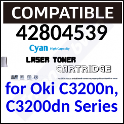 42804539 Compatible Cyan High Capacity Toner Cartridge (3000 Pages) for C3200n, C3200dn