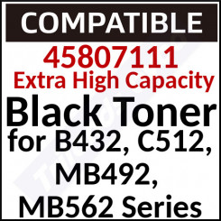 45807111 Compatible Black Extra High Yield Toner Cartridge (12000 Pages) for Oki B432dn, B512dn, MB492dn, MB562dnw