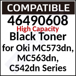 46490608 Compatible Black High Capacity Toner Cartridge (7000 Pages) for Oki MC573dn, MC563dn, C542dn
