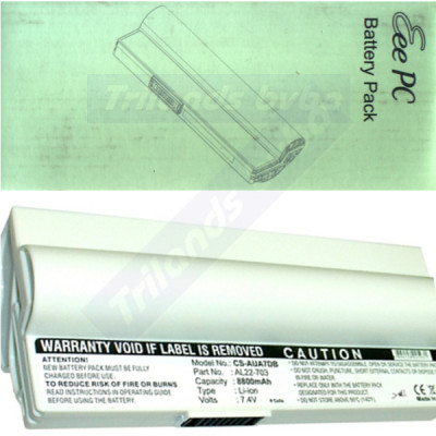 Asus Eee Series Pearl White Original Battery Pack (SL22-900A) Lithium-Ion 4-Cell 4400mAh 7.4V