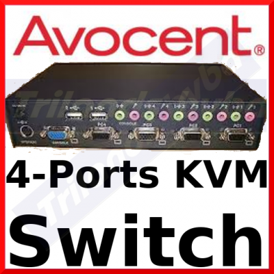 Avocent SwitchView 4-Port USB / PS2 KVM Switch SV-400UA (SV400UA-EU) - 4 Ports, USB, Sound - 4 x Keyboard, 4 x Mouse, 4 x Video - Ideal for Managing Servers - Intergrated USB Hub for External Devices