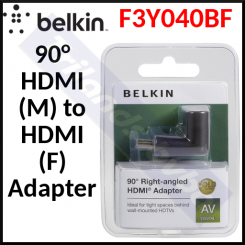 Belkin F3Y040BF 90° HDMI Adapter HDMI (M) to HDMI (F) Right Angled Connector