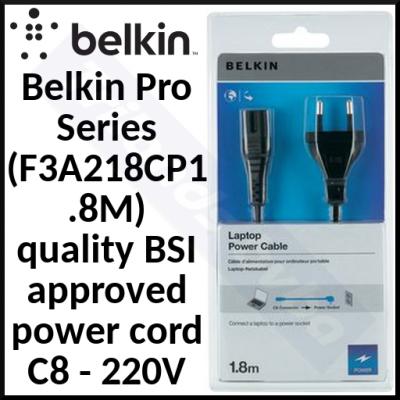 Belkin Laptop / Notebook Power Cable F3A218CP1.8M - PRO Series Laptop AC Replacement Power cable (220 VAC) - IEC 320 EN 60320 C7 - 1.8 m