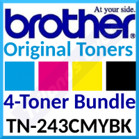 Brother TN-243CMYK (4-Toner Pack) Cyan / Magenta / Yellow / Black Original Toner Cartridges (3 X 1400 Pages - 1 X 2500 Pages)