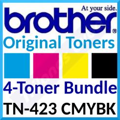 Brother TN-423 CMYBK (4-Toner Bundle) Black / Cyan / Magenta / Yellow High Capacity Original Toner Cartridges (1 X 6500 Pages + 3 X 4000 Pages)