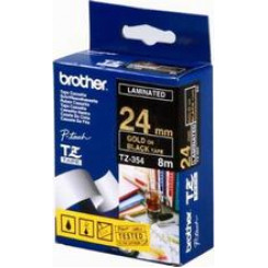 Brother 24MM Gold on Black P-Touch Laminated Adhesive Tape TZE-354 (24 mm X 8 Meters)