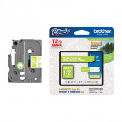 Brother 12MM White on Apple Green PTouch Adhesive Tape TZEMQG35 (12 mm X 4 Meters)
