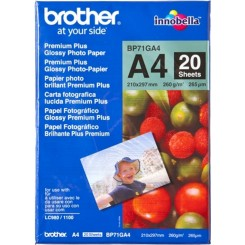 Brother BP71GA4 Premium Plus Glossy Photo Inkjet Paper (BP-71GP20) - 210 mm X 297 mm (A4) - 260 gms/M2 - 20 Sheets Pack
