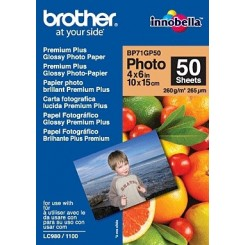 Brother BP71GP50 Premium Plus Glossy Photo Inkjet Paper (BP71GP50) - 100 mm X 150 mm (A6) - 260 gms/M2 - 50 Sheets Pack
