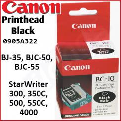 Canon BC-10e Black Original Printhead Cartridge 0905A002 for Canon BJ-35, BJC-50, BJC-55 - Canon StarWriter 300, 350C, 500, 550C, 4000 - New - Retail Pack (Stock Clearance)
