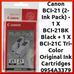 Canon BCI-21 (2-Ink Pack) - 1 X BCI-21BK Black + 1 X BCI-21C Tri-Color Original Ink Cartridges 0954A3379