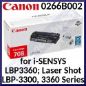 Canon 708 Black Original Toner Cartridge 0266B002 (2500 Pages) for Canon I-SENSYS LBP-3300, LBP-3360 - New - Original Packing - Stock Clearance