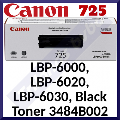 Canon 725 Black Orginal Toner Cartridge 3484B002 (1600 Pages) for Canon LBP-6000, LBP-6000B, LBP-6020, LBP-6020B, LBP-6030, LBP-6030B, LBP-6030W