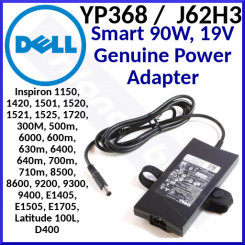 Dell (YP368 / J62H3) Smart 90W, 19V Genuine Power Adapter for Dell Inspiron 1150, 1420, 1501, 1520, 1521, 1525, 1720, 300M, 500m, 6000, 600m, 630m, 6400, 640m, 700m, 710m, 8500, 8600, 9200, 9300, 9400, E1405, E1505, E1705, Latitude 100L, D400