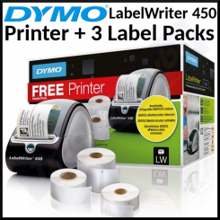 Dymo LabelWriter 450 Printer Value Pack S01896042 - (1 X Dymo 450 Label Printer (S0838770) + 3 Label Packs) - Special PROMO PACK