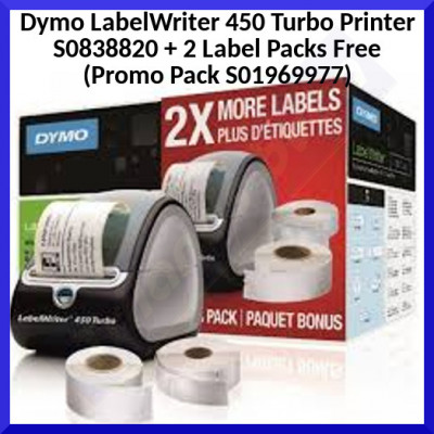 Dymo LabelWriter 450 Turbo Printer S0838820 (Promo Pack S01969977)