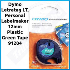 Dymo 12mm (S0721640) Plastic Green Tape 91204 - 12 mm X 4 Meters for Dymo Letratag LT, Personal Labelmaker