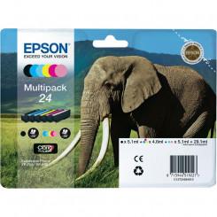 Epson 24 (6-Ink CMYKLCLM Pack) Black+Cyan+Magenta+Yellow+Light Cyan+Light Magenta Original Ink Cartridges MultiPack C13T24284011