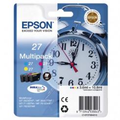 Epson 27 (3-Ink CMY Pack) Cyan / Magenta / Yellow Original Ink Cartridges C13T27054012 for Epson WorkForce WF-7210DTW, WF-7710DWF, WF-7715DWF, WF-7720DTWF