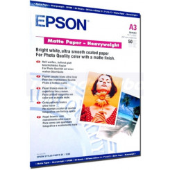 Epson Heavyweight Bright White Matte Inkjet Paper C13S041261 - (A3) 297 mm X 420 mm - 167 grams/M2 - 50 Sheets Pack