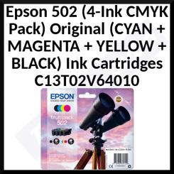 Epson 502 (4-Ink CMYK Pack) Black / Cyan / Magenta / Yellow Original Ink Cartridges C13T02V64010 for Epson Expression Home XP-5100, XP-5105; WorkForce WF-2860, WF-2860DWF, WF-2865DWF