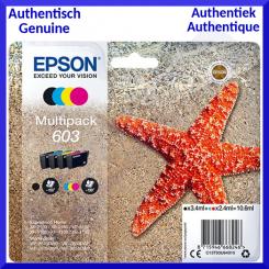 Epson 603 (4-Ink CMYK Pack) Black, Cyan, Magenta, Yollow Original Ink Cartridges Multipack C13T03U64010