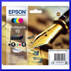 Epson 16XL (4-Ink CMYK Pack) Black / Cyan / Magenta / Yellow High Yield Original Ink Cartridges C13T16364012 - pour WorkForce WF-2010, 2510, 2520, 2530, 2540, 2630, 2650, 2660, 2750, 2760