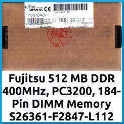 Fujitsu 512 MB DDR 400MHz, PC3200, 184-Pin DIMM Memory S26361-F2847-L112