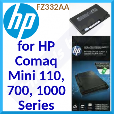 HP FZ332AA Genuine Notebook Extended High Capacity Battery - Li-ion 6-Cell 4800mAh Genuine Replacement HP Battery for HP Mini 700 Series