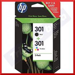 HP 301 (2-Ink Pack) - 1 X 301 Black + 1 X 301 Tri-Color Original Ink Cartridges N9J72AE (Black 190 Pages + Color 165 pages)