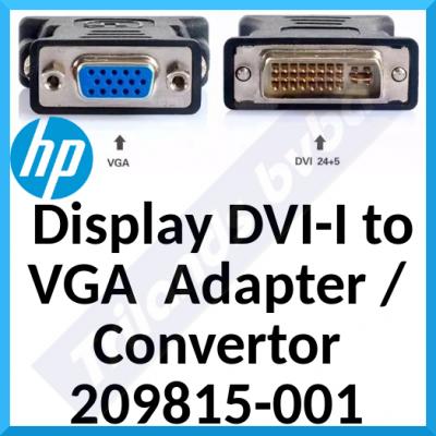 HP Display DVI-I to VGA  Adapter / Convertor 209815-001 - 1 x DVI-I Male, 1 x VGA Female (White)