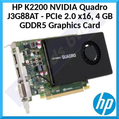 HP K2200 NVIDIA Specialty  4 GB GDDR5 Graphics Quadro Card  J3G88AT - PCIe 2.0 x16 - DVI, 2 x DisplayPort for Servers / Workstations