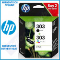 HP 303 (2-Ink Pack) 1 X 303 Black + 1 X 303 TriColor Original Ink Cartridges Combo Pack 3YM92AE