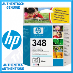 HP 348 Tri-Color Photo Original Ink Cartridge C9369EE (13 Ml) for HP Deskjet 460C, 460wbt, 5440, 5745, 5940, 6520, 6540, 6620, 6840, 6940, 6980, 9800, D4160 - HP PSC 1510, 1600, 1610, 2350, 2355