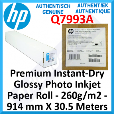 "HP Q7993A Premium Instant-Dry Glossy Photo Inkjet Paper Roll - 260g/m2 - 914 mm X 30.5 Meters (36"" X 100 Ft) - Special Offer"