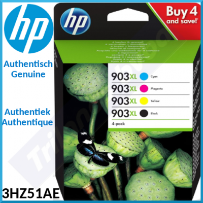 HP 903XL (4-Pack CMYK) Black / Cyan / Magenta / Yellow High Capacity Officejet Original Ink Cartridges 3HZ51AE